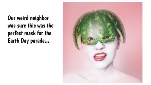 lady wearing watermelon rind on her head