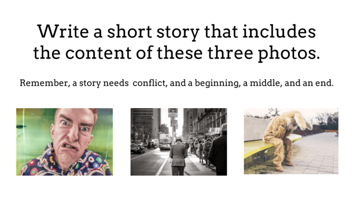 three photos to prompt the creation of a story