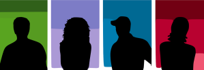 4 silhouettes of people
