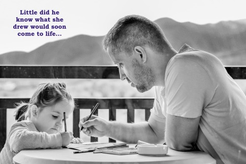 girl-drawing with dad little did he know captioned