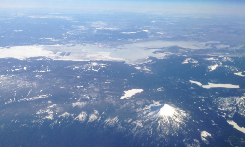 aerial view above southern Oregon in winter