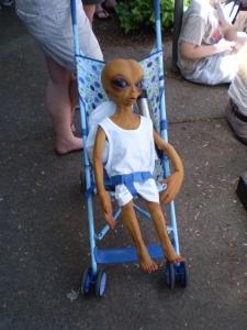 alien in baby carriage