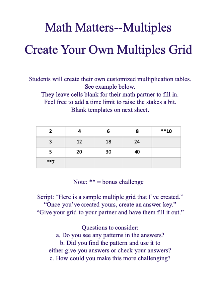 Multiples Grid activity sheet