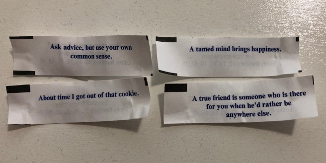 four fortunes from fortune cookies