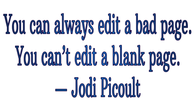 Writing Jodi Picoult cant Edit blank page