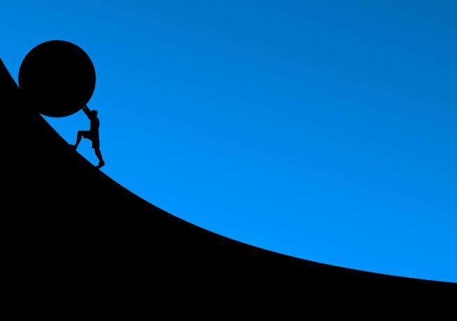 struggle rolling ball uphill