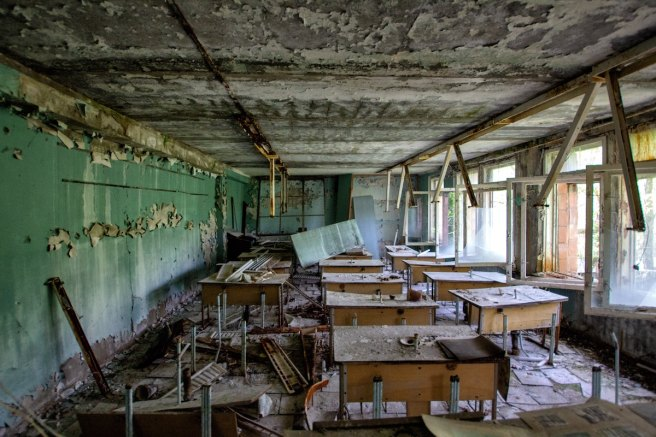 classroom in disarray