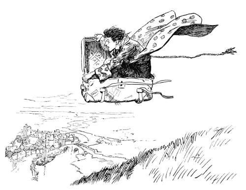 boy flying in suitcase