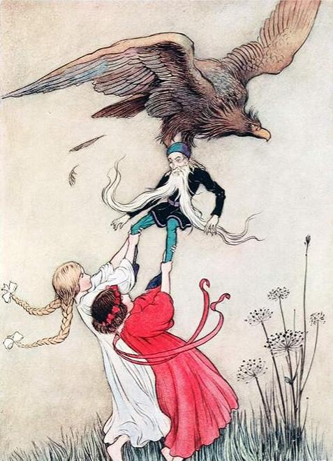 children in tug of war with bird