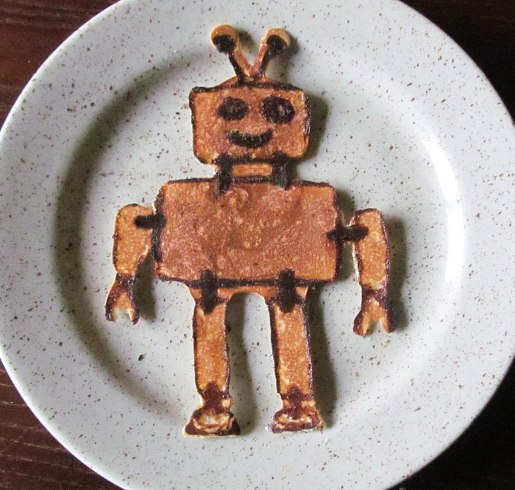 pancake shaped like a robot