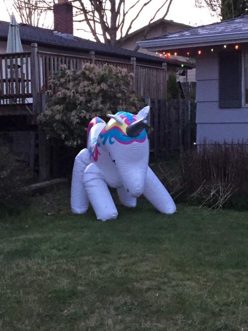 unicorn blow-up toy